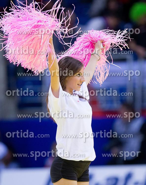 Cheerleaders during handball match between Slovenia and Croatia in  2nd Round of Preliminary Round of 10th EHF European Handball Championship Serbia 2012, on January 18, 2012 in Millennium Center, Vrsac, Serbia. Croatia defeated Slovenia 31-29. (Photo By Vid Ponikvar / Sportida.com)
