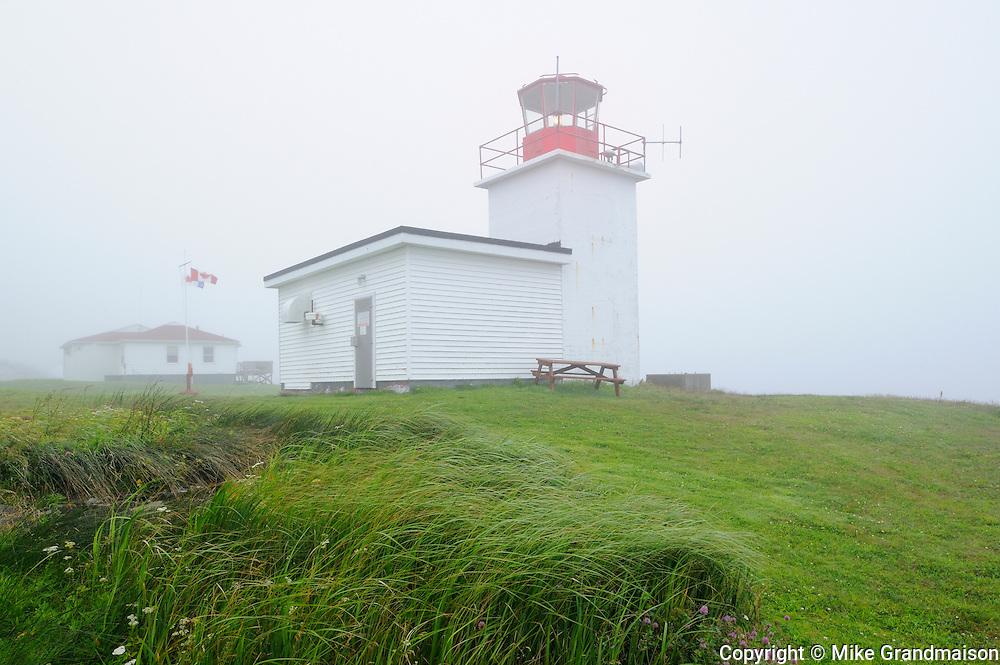 Grand Passage Lighthouse in fog<br /> Brier Island<br /> Nova Scotia<br /> Canada