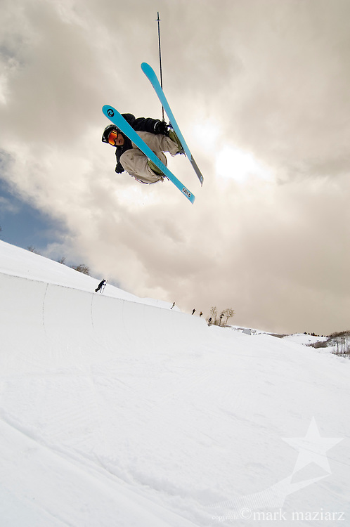 skiers in halfpipe at Park City Mountain Resort