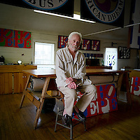 Artist Robert Indiana photographed in his studio on Vinalhaven, Maine.