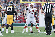 PASADENA, CA - JANUARY 1:  Blake Shuler #52 of the Stanford Cardinal signals his teammates during the 102nd Rose Bowl game between Stanford and the Iowa Hawkeyes played on January 1, 2016 at the Rose Bowl stadium in Pasadena, California.  (Photo by David Madison/Getty Images) *** Local Caption *** Graham Shuler