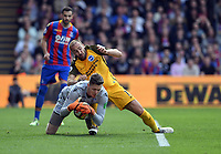 Football - 2017 / 2018 Premier League - Crystal Palace vs. Brighton & Hove Albion<br /> <br /> Brighton & Hove Albion's Glenn Murray battles for possession with Crystal Palace's Wayne Hennessey, at Selhurst Park.<br /> <br /> COLORSPORT/ASHLEY WESTERN