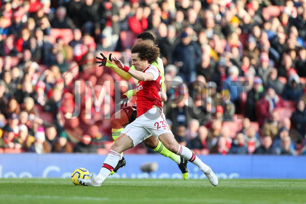 David Luiz of Arsenal tackles Lys Mousset of Sheffield United - Mandatory by-line: Arron Gent/JMP - 18/01/2020 - FOOTBALL - Emirates Stadium - London, England - Arsenal v Sheffield United - Premier League