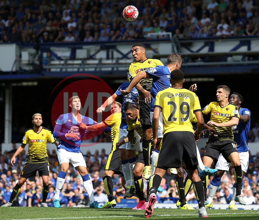 Watford's Troy Deeney clears the ball - Mandatory byline: Matt McNulty/JMP - 07966386802 - 08/08/2015 - FOOTBALL - Goodison Park -Liverpool,England - Everton v Watford - Barclays Premier League