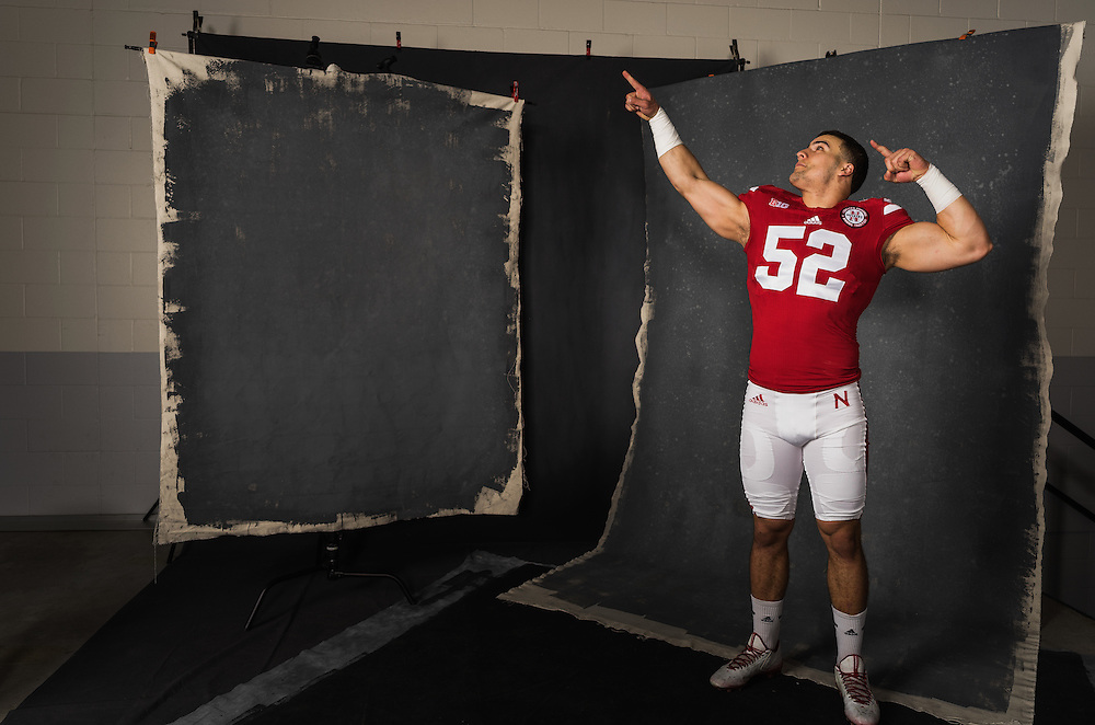 Josh Banderas poses during a portrait session at Memorial Stadium between April 20-28, 2016. Photo by Paul Bellinger, Hail Varsity
