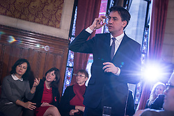 © Licensed to London News Pictures . 29/11/2013 . Manchester , UK . L-R Caroline Flint MP and Lucy Powell MP (1st and 2nd left) listen to Ed Miliband . The leader of the Labour Party , Ed Miliband , addresses an audience at Manchester Town Hall today (Friday 29th November 2013) . The British opposition leader is launching a green paper on energy. Photo credit : Joel Goodman/LNP