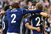 `wpb` celebrate with scorer West Bromwich Albion defender (on loan from Al Ahly) Ahmed Hegazi (26) during the Premier League match between West Bromwich Albion and Southampton at The Hawthorns, West Bromwich, England on 3 February 2018. Picture by Dennis Goodwin.