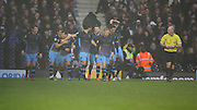 Sheffield Wednesday players celebrating Sheffield Wednesday midfielder Ross Wallace scoring the first goal during the Sky Bet Championship match between Fulham and Sheffield Wednesday at Craven Cottage, London, England on 2 January 2016. Photo by Matthew Redman.