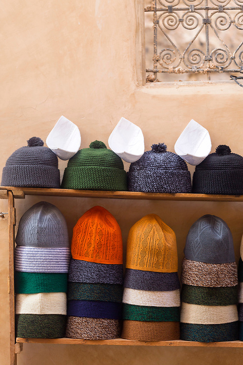 FEZ, MOROCCO - 1st DECEMBER 2016 - Woollen beanie hats for sale in the souks of the old Fez Medina, Middle Atlas Mountains, Morocco.