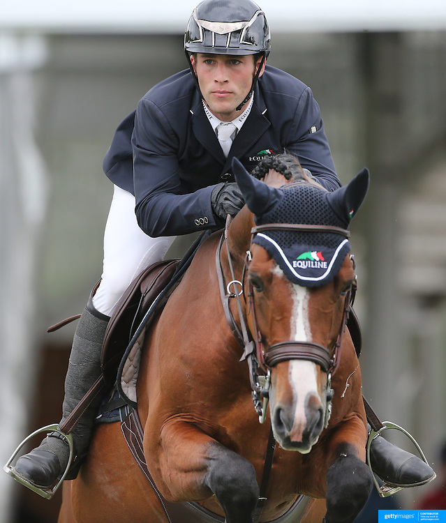 NORTH SALEM, NEW YORK - May 15: Mattias Tromp, USA, riding Avon, in action during The $50,000 Old Salem Farm Grand Prix presented by The Kincade Group at the Old Salem Farm Spring Horse Show on May 15, 2016 in North Salem. (Photo by Tim Clayton/Corbis via Getty Images)