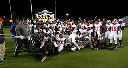 Imhotep Panthers of Philadelphia celebrate the historic championship victory for being the first city public school to nab the State Tile after beating Cathedral Prep Ramblers in the 2015 PIAA class AAA State Championship Finals, at Hersheypark Stadium. (photo by Bastiaan Slabbers)