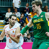 06 August 2012:  Spain Jose Calderon drives past Brazil Tiago Splitter during 88-82 Team Brazil victory over Team Spain, during the men's basketball preliminary, at the Basketball Arena, in London, Great Britain.
