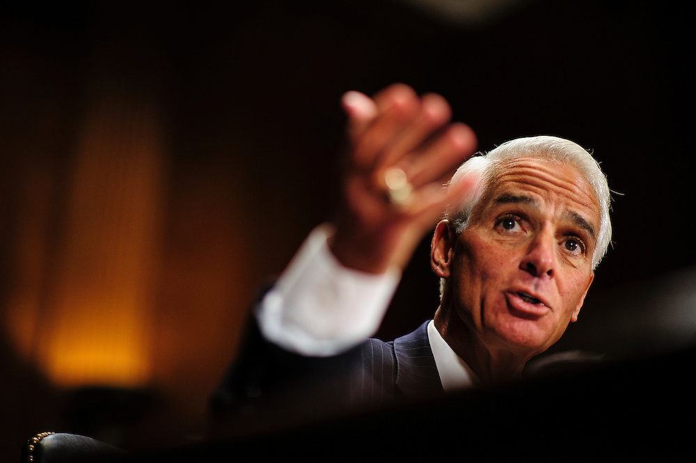 """Former Florida Governor CHARLIE CRIST testifies before a Senate Judiciary Committee hearing on Capitol Hill Wednesday about """"The State Of The Right To Vote After The 2012 Election."""" The hearing focused on American's access to the voting booth and the continuing need for protections against efforts to limit or suppress voting."""