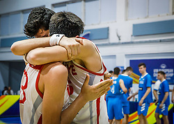 Players of Turkey  celebrate after winning during basketball match between National teams of Turkey and Slovenia in the SemiFinal of FIBA U18 European Championship 2019, on August 3, 2019 in Nea Ionia Hall, Volos, Greece. Photo by Vid Ponikvar / Sportida