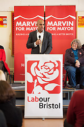 © Licensed to London News Pictures. 14/02/2016. Bristol, UK.  MARVIN REES speaks at his campaign launch for Mayor of Bristol at Avon Primary School, Shirehampton, Bristol. Marvin Rees is the Labour candidate for Bristol's Mayoral election on 05 May, and his main rival is the incumbent George Ferguson, Bristol's first elected mayor who is standing again as an independent. There are four mayoral elections in May 2016, London, Bristol, Liverpool and Salford. Photo credit : Simon Chapman/LNP