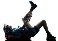 one caucasian woman trekker trekking injury accident  in silhouette isolated on white background