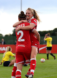 Millie Farrow of Bristol City Women celebrates with Loren Dykes defender after scoring the opening goal against Oxford United Women - Mandatory by-line: Robbie Stephenson/JMP - 25/06/2016 - FOOTBALL - Stoke Gifford Stadium - Bristol, England - Bristol City Women v Oxford United Women - FA Women's Super League 2