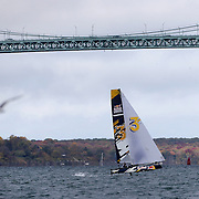NEWPORT, RHODE ISLAND- OCTOBER 22:  The German team of Jasper Steffens and Tom Lennart Brauckmann in action during the Red Bull Foiling Generation World Final 2016 on October 22, 2016 in Narragansett Bay, Newport, Rhode Island. (Photo by Tim Clayton/Corbis via Getty Images)