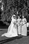 """05/09/1962<br /> 09/05/1962<br /> 05 September 1962<br /> Wedding of Fergus Keogh of """"Eagleville"""", Strandville Avenue, Clontarf, Dublin to Miss Miriam Caffrey, Church Avenue, Drumcondra Dublin at the Church of the Visitation of the BVM, Fairview with reception at St. Lawrence Hotel, Howth. Mr. keogh was full-back for Bective Rangers at the time. Bride and bridesmaids in the grounds of the hotel."""