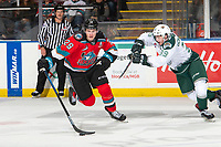 KELOWNA, BC - SEPTEMBER 28:  Gage Goncalves #39 of the Everett Silvertips stick checks Nolan Foote #29 of the Kelowna Rockets ask he skates with the puck  at Prospera Place on September 28, 2019 in Kelowna, Canada. (Photo by Marissa Baecker/Shoot the Breeze)