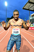 Noah Lyles (USA) celebrates after winning the 200m in 19.69 during the 2018 Athletissima in an IAAF Diamond League meeting at Stade Olympique de la Pontaise in Lausanne, Switzerland on Thursday, July 5, 2018. (Jiro Mochizuki/Image of Sport)