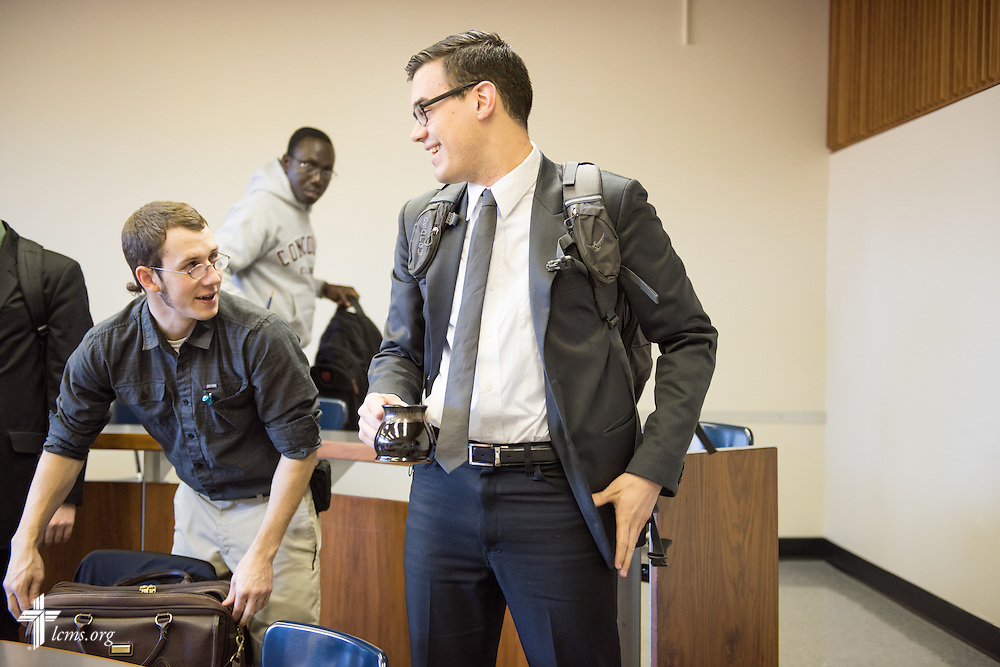 Seminarian Jacob Benson leaves at the end of class at Concordia Theological Seminary, Fort Wayne, Ind., on Wednesday, April 1, 2015. LCMS Communications/Erik M. Lunsford