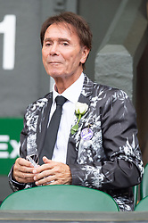 © Licensed to London News Pictures. 09/07/2018. London, UK. Cliff Richard on the centre court during the Wimbledon Tennis Championships 2018, at the All England Lawn Tennis and Croquet Club. Photo credit: Ray Tang/LNP
