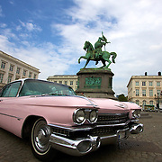 1959 Pink Cadillac in the Koningsplein in Brussels, next to the monument to Godefroid Van Bouillon (c.1060-1100), Duke of Lower Lorriane.