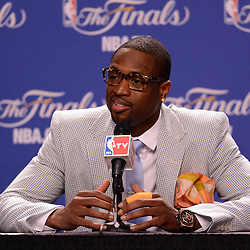 Jun 17, 2012; Miam, FL, USA; Miami Heat shooting guard Dwyane Wade talks to the media during a post game press conference after game three in the 2012 NBA Finals against the Oklahoma City Thunder at the American Airlines Arena. Miami won 91-85. Mandatory Credit: Derick E. Hingle-US PRESSWIRE