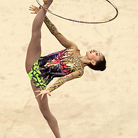 Anna Luiza Filiorianu of Romania performs in the Women's Rhythmic Gymnastics Individual All-Round Final at the Nanjing Olympic Sports Center Gymnasium during the Nanjing 2014 Youth Olympic Games in Nanjing, China 27 August 2014.