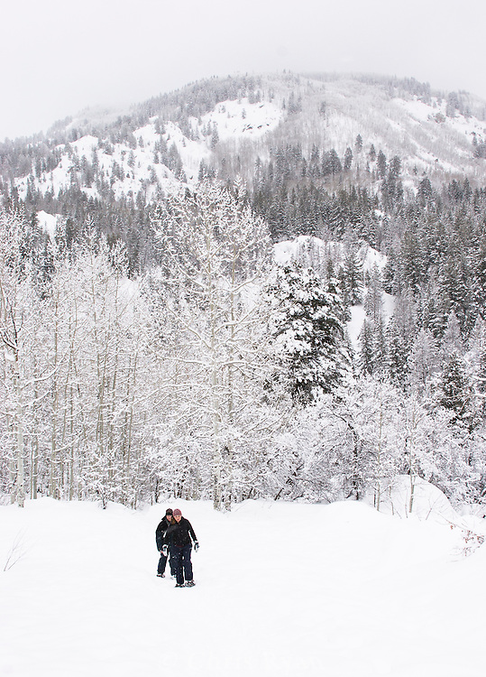 Snowshoers hiking in the winter snow near Steamboat Springs, Colorado