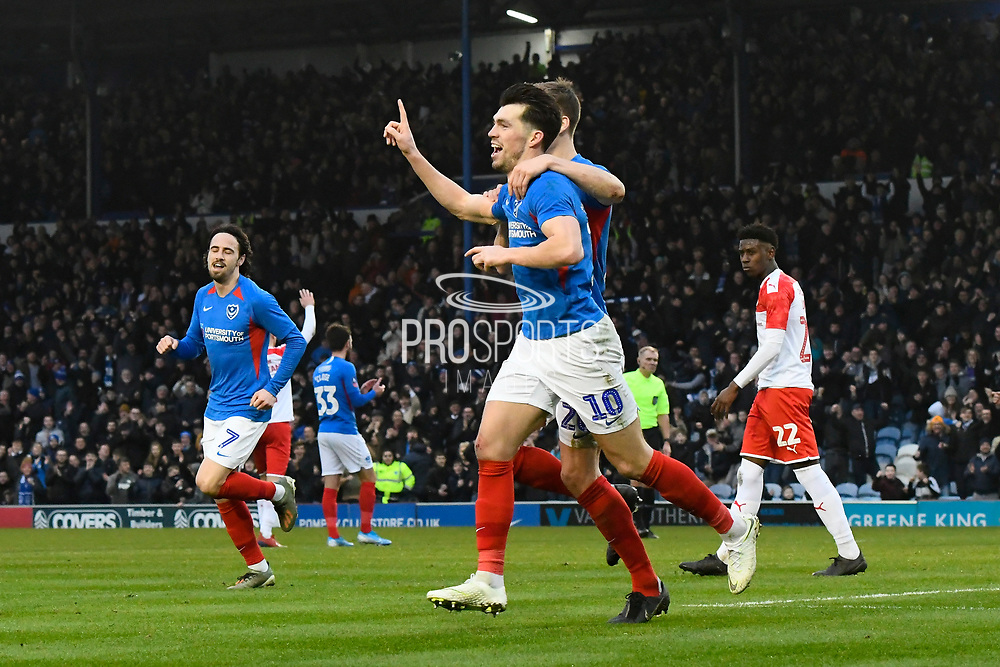 Goal - John Marquis (10) of Portsmouth celebrates after he scores a goal to give a 2-0 lead during the The FA Cup match between Portsmouth and Barnsley at Fratton Park, Portsmouth, England on 25 January 2020.