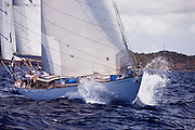 Peter von Seestermuhe sailing in the Old Road Race at the 2011 Antigua Classic Yacht Regatta.