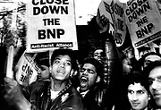Anti-Racist Alliance supporters picketing a meeting of the BNP at York Hall. Bethnal Green, East London, April 1992