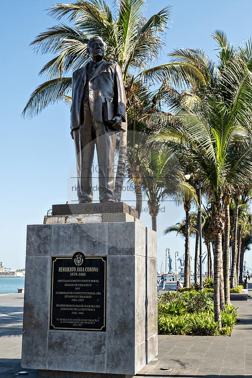 Statue honoring General Heriberto Jara Corona along the Malecon in the historic center of the city of Veracruz, Mexico. Corona was a Mexican revolutionary and former Mexican President.