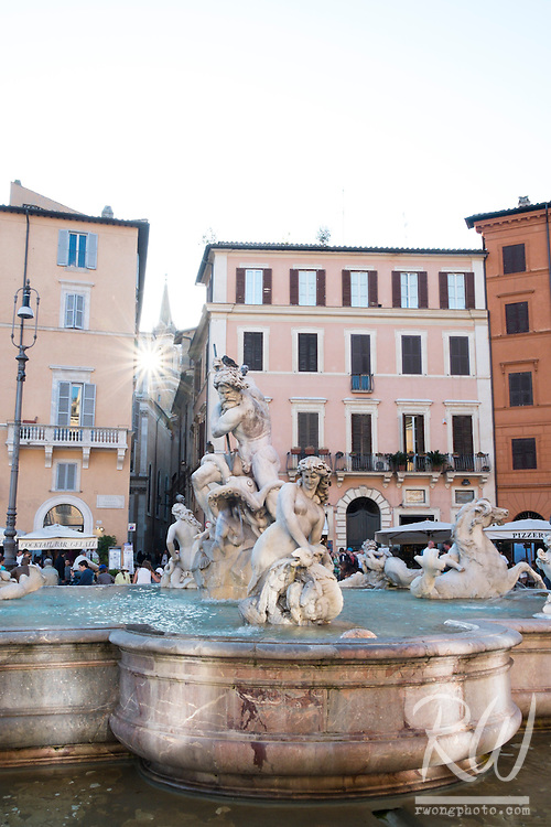 Fontana del Nettuno in Piazza Navona, Rome, Italy