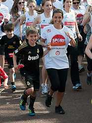 Louise Redknapp taking part in a one mile run for Sport Relief charity in London, 25th March 2012.  Photo by: i-Images