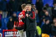 Manchester United interim Manager Ole Gunnar Solskjaer celebrates at full time during the The FA Cup match between Chelsea and Manchester United at Stamford Bridge, London, England on 18 February 2019.