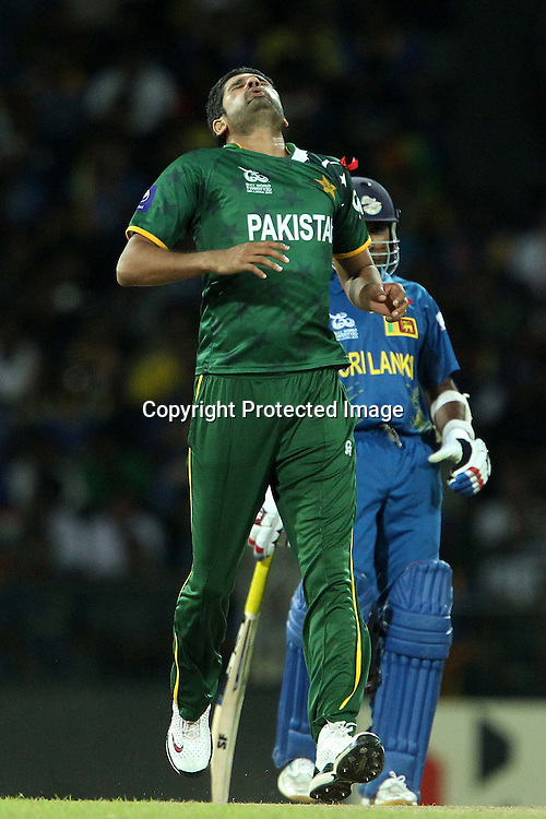 Sohail Tanvir reacts ater bowling during the ICC World Twenty20 semi final match between Sri Lanka and Pakistan held at the Premadasa Stadium in Colombo, Sri Lanka on the 4th October 2012<br /> <br /> Photo by Ron Gaunt/SPORTZPICS