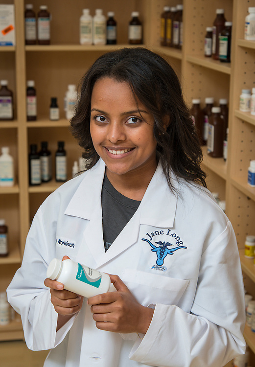 Jane Long Futures Academy student Bontu Workineh poses for a photograph at the Houston Community College Coleman College for Health Sciences pharmacy technology labs, October 16, 2014.