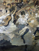 Parce Domine ..' (detail):  Painting by Adolphe Willette (1857-1926) French painter, illustrator and printmaker, for Le Chat Noir (Black Cat) cabaret, 1899.   Man in Pierrot costume plays  a guitar and girl  with tambourine dances with abandon.