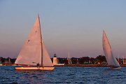 Lucky Pierre and Osprey sailing in the Herreshoff S Class division of the Newport Yacht Club Tuesday night racing series.