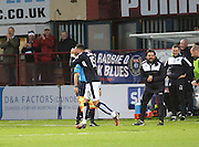 Dundee&rsquo;s Kane Hemmings celebrates  after completing his hat-trick - Dundee v Hamilton, Ladbrokes Premiership at Dens Park<br /> <br />  - &copy; David Young - www.davidyoungphoto.co.uk - email: davidyoungphoto@gmail.com