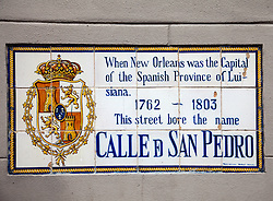 New Orleans, Louisiana:  Historical plaques throughout the French Quarter hark back to the city's Spanish Provincial heritage, 1762-1803.