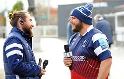 Tom Vaux of Bristol Bears talks Ian Downs prior to kick-off - Mandatory by-line: Nizaam Jones/JMP - 19/01/2019 - RUGBY - Ashton Gate Stadium - Bristol, England - Bristol Bears v Enisei-STM - European Rugby Challenge Cup