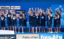 Third placed Team of Croatia celebrates at the victory ceremony after the Men's  Waterpolo Final match between National teams of Serbia and Spain during the 13th FINA World Championships Roma 2009, on August 1, 2009, at the Stadio del Nuoto,  in Foro Italico, Rome, Italy. Serbia won after penalties shootout 14:13.  (Photo by Vid Ponikvar / Sportida)
