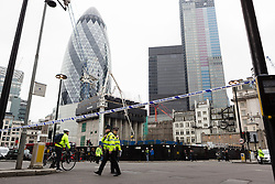 © Licensed to London News Pictures. 10/03/2016. London, UK. Police seal off Bishopsgate near Liverpool Street during a bomb scare this morning. Roads into the area were sealed off and have now reopened. Photo credit : Vickie Flores/LNP