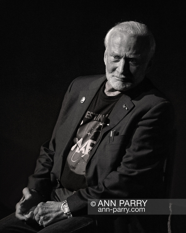Garden City, New York, U.S. October 23, 2015. Former NASA astronaut Edwin BUZZ ALDRIN is in conversation about his experiences in space and his new Children's  Middle Grade book Welcome to Mars: Making a Home on the Red Planet. After the talk at the jetBlue Sky Theater Planetarium at Long Island's Cradle of Aviation Museum, Aldrin signed copies of his new book. On the 1969 Apollo 11 mission, Buzz Aldrin was the second person to walk on the Moon, and his first trip to space was the 1966 Gemini 12.