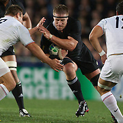 Brad Thorn, New Zealand, is tackled by Nicolas Mas, France, during the New Zealand V France Final at the IRB Rugby World Cup tournament, Eden Park, Auckland, New Zealand. 23rd October 2011. Photo Tim Clayton...