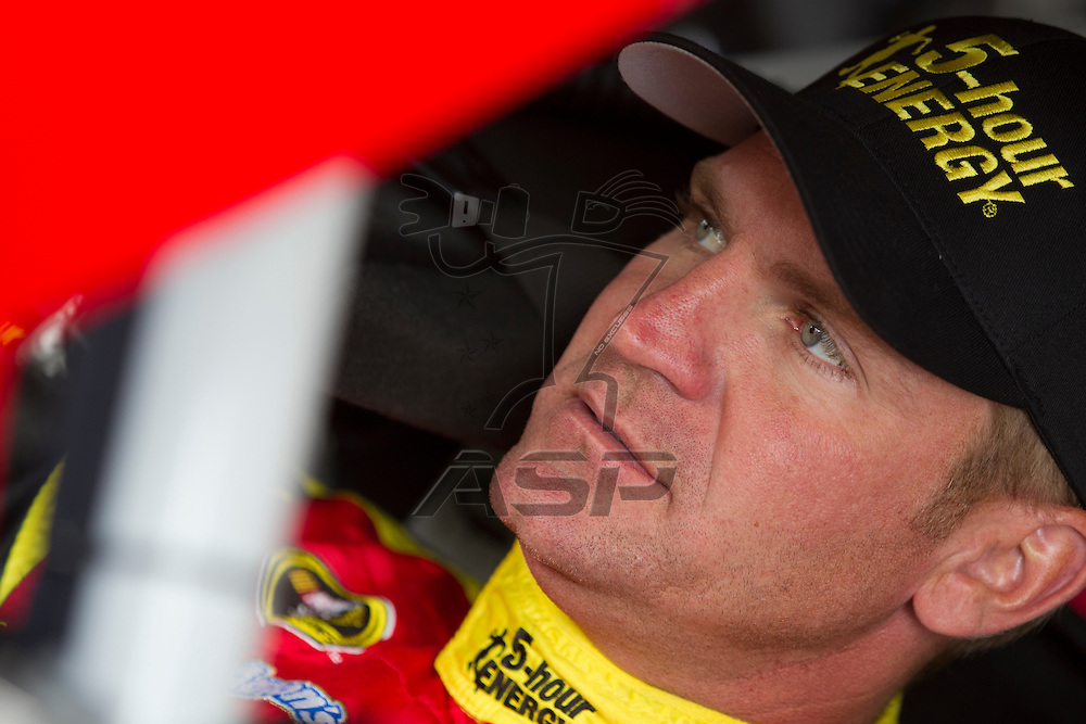 Kansas City, KS - APR 20, 2012:  Clint Bowyer (15) before a practice session for the STP 400 race at the Kansas Speedway in Kansas City, KS.
